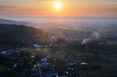 Sunset from Drabske Svetnicky, Cesky raj, Bohemian Paradise - Dneboh. Village stock images