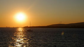 Sunset.Dramatic evening sky on the sea. stock video footage