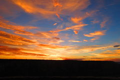 Sunset. Dramatic orange sunset over Grand Canyon Stock Photography