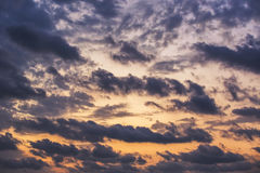 Sunset dramatic sky clouds Stock Images