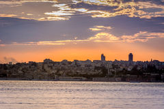Sunset with dramatic sky over Istanbul, Turkey royalty free stock photo
