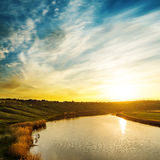 Sunset in dramatic sky over river Royalty Free Stock Photos