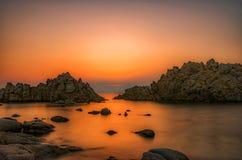 Sunset in a dream. High esposition of a sunset in Santa Teresa di Gallura, Sardegna stock photos