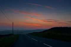Sunset drive. Sunset road drive Hebden Yorkshire UK stock images