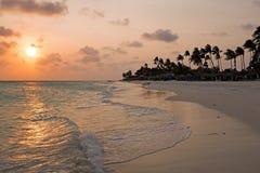 Sunset on Druif beach on Aruba in the Caribbean Sea Royalty Free Stock Photo