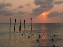 Sunset on Druif Beach, Aruba Island in the Caribbean Sea royalty free stock images