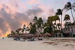 Sunset on Druif beach on Aruba island in the Caribbean Sea Royalty Free Stock Images