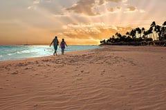Sunset on Druif beach on Aruba island Stock Photos
