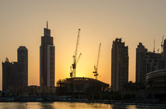 Sunset in dubai. These are the buildings near the burj Khalifa. Very nice sunset in the burj Khalifa fountain lake Stock Images