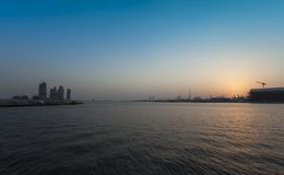 Sunset in Dubai city view, UAE. Sunset in Dubai city view, United Arab Emirates royalty free stock photo