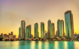 Sunset in Dubai Downtown Royalty Free Stock Photo