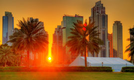 Sunset in Dubai Downtown Stock Images