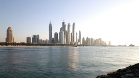 Sunset dubai marina panoramic 4k time lapse Stock Image