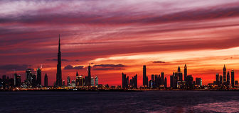 Sunset of Dubai. This shot was taken in Dubai Terrace during the sunset time Stock Images