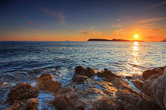 Sunset from Dubrovnik Stock Photography
