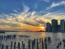 Sunset at Dumbo Brooklyn Park stock photos
