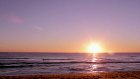 Sunset at Dunas Douradas beach seascape, destination in Algarve, Portugal. stock footage