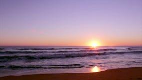 Sunset at Dunas Douradas beach seascape, destination in Algarve, Portugal. stock video footage