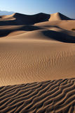 Sunset dunes. Dune landscape with the sun casting long shadows (Death Valley national park, California, USA Stock Photos