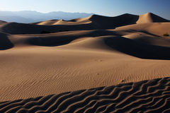 Sunset dunes. Sand dunes with the setting sun casting long shadows (Death Valley national park, California, USA Royalty Free Stock Image