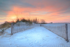 Sunset Dunes and Fencing Folly Beach South Carolina Royalty Free Stock Image