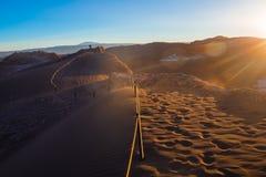 Sunset in the dunes in Moon Valley at San Pedro de Atacama Royalty Free Stock Photos