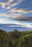 Sunset at Dunnottar Castle on the Scottish coast Royalty Free Stock Photography