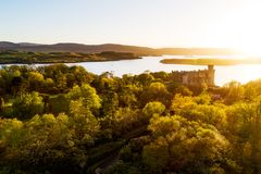 Sunset at Dunvegan Castle stock photo