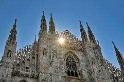 Sunset on Duomo Cathedral in Milano, Italy Stock Images