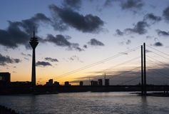 Sunset in Dusseldorf Stock Image