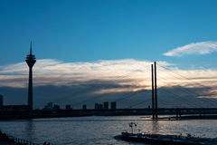 Sunset in Dusseldorf Stock Images