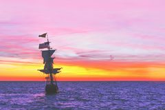 Sunset on the Dutch Pirate Ship stock photography