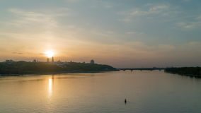 Sunset in early May, the Dnieper River in the city of Kiev stock video footage