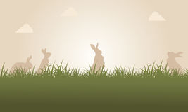At sunset easter bunny landscape Royalty Free Stock Photography