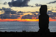 Sunset in Easter Island, Chile Royalty Free Stock Photos