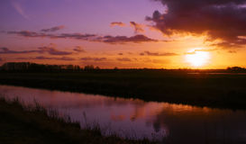 A Sunset In Eastern Frisia Royalty Free Stock Photos