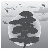 Sunset Eastern Landscape - Clouds, Birds and Tree. Sunset Eastern Landscape with Clouds, Birds and Tree in Gray Tones Stock Illustration