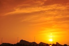 Sunset in Eastern Province, Abu Dhabi Royalty Free Stock Photos