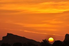 Sunset in Eastern Province, Abu Dhabi Stock Photo