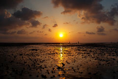 Sunset. And ebb of the sea and silhouette of people royalty free stock photos
