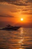 Sunset in Egean sea Stock Image