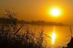Sunset at Egyptian nile Stock Photo