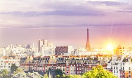Sunset and Eiffel tower. Royalty Free Stock Photo