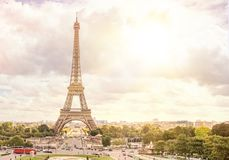 Sunset and Eiffel tower. Stock Photos