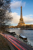 Before Sunset at the Eiffel Tower and Seine River, Paris Royalty Free Stock Images