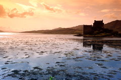 Sunset at Eilean Donan Castle in Scotland, Royalty Free Stock Images