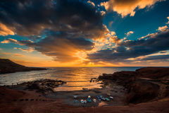 Sunset in El Golfo Lanzarote Stock Photo
