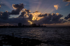 Sunset at El Malecon - Havana, Cuba. Sunset at El Malecon in Havana, Cuba Stock Photo