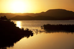 Sunset at El-Mansour Eddabbi dam, Ouarzazate. Royalty Free Stock Images