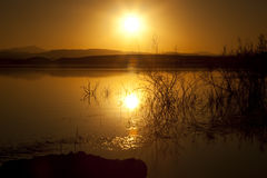 Sunset at El-Mansour Eddabbi dam, Ouarzazate. Stock Photos